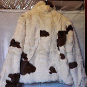New Forever 21 White & Brown Faux Fur Bomber Sz L